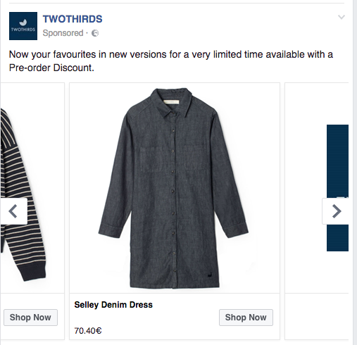 Facebook Dynamic Product Ad Denim Dress